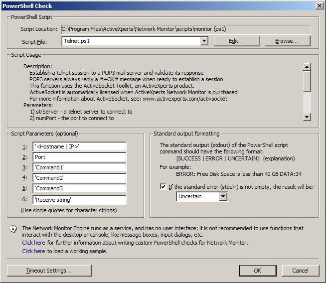 Telnet ps1 - ActiveXperts Network Monitor PowerShell check