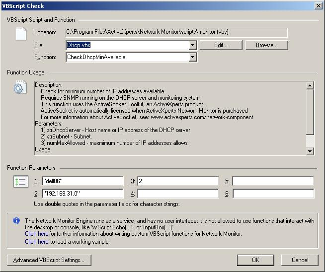 Dhcp vbs - Check DHCP scope through ActiveXperts Network Monitor