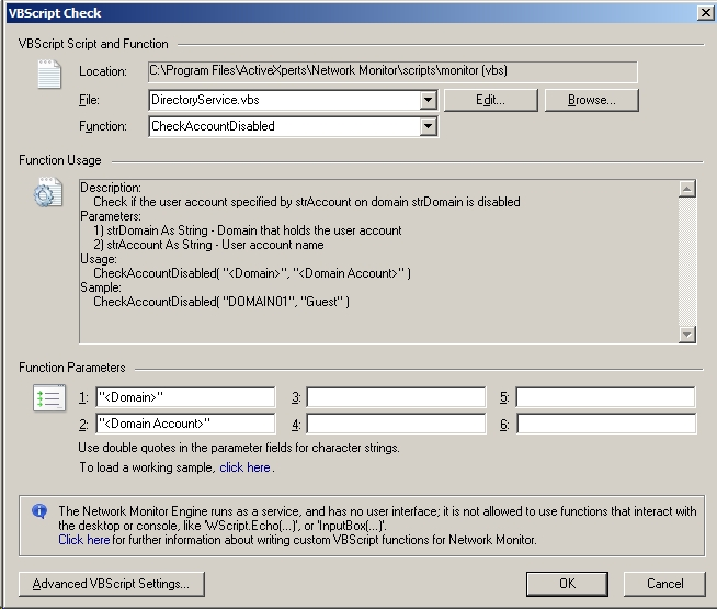 DirectoryService vbs - Directory Service checking using ActiveXperts