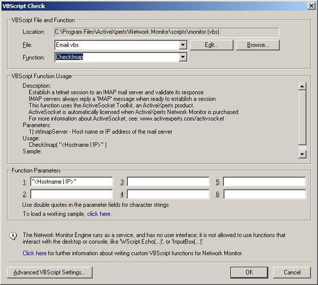 Imap vbs - Monitoring IMAP mail server availability using