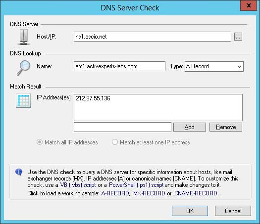 ActiveXperts Network Monitor DNS check