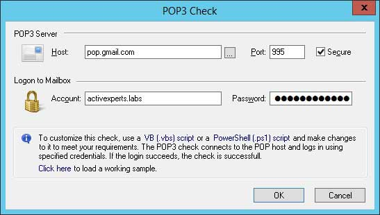 ActiveXperts Network Monitor POP3 check