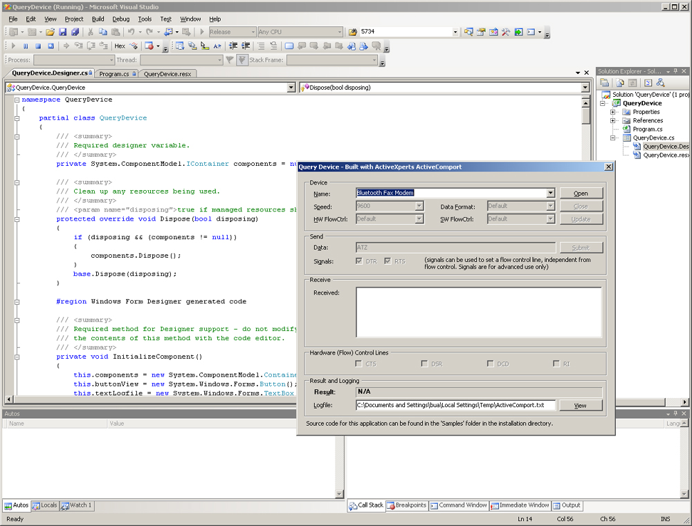 ActiveComport screenshot